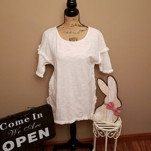 Umgee sz S  Tunic top white  fringe